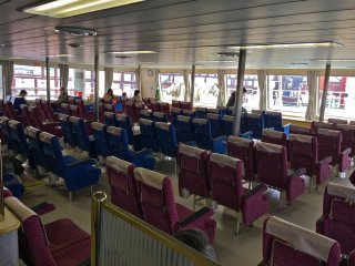 The interior view of the Tokyo Wan Ferry from the KurihamaFerry Terminal in Kanagawa.