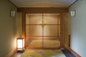 Entrance to the biggest and fanciest room of the hotel, part of the Saikyotei