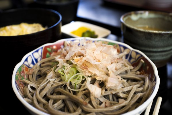 Cold oroshi soba served with a side dish of katsu don and miso soup