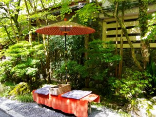 Bench and umbrella for the customers at the restaurant