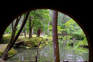 View from the round window of a teahouse