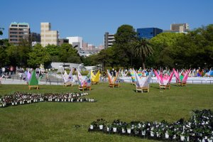 Peace Memorial Park is not just a solemn place. Every year the park is decorated beautifully for Hiroshima's Flower Festivals. Several other festivals are held here throughout the year.