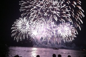 Fireworks light up a boat