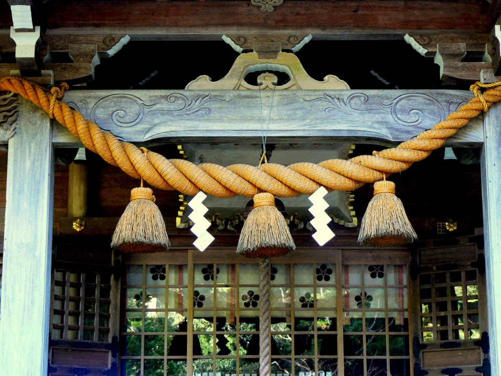 Heavy rope decorating a shrine