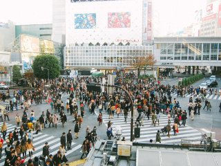 View of Shibuya Crossing from a coffee shop on the second floor. How busy it is!