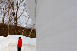 Walking through snow walls near the Inn