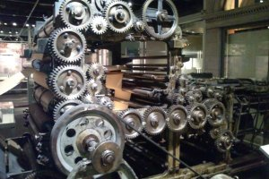 One of the many, beautiful printing presses on display.