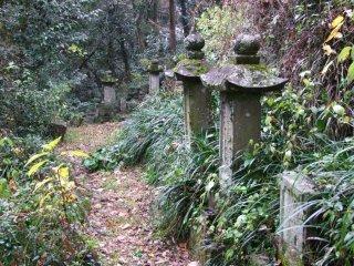 Gravestones often sit right along the path.