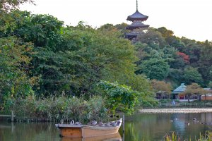 This view of the Three-Story Pagoda of Old Tomyojifrom the Main Pondnever gets old