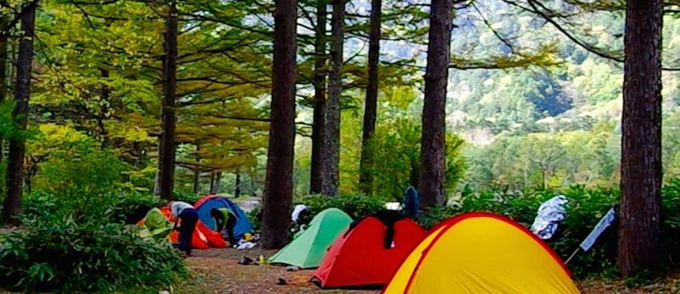Acampamento junto à Kappa-bashi