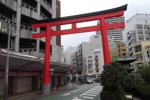 The hostel is near this big red torii gate