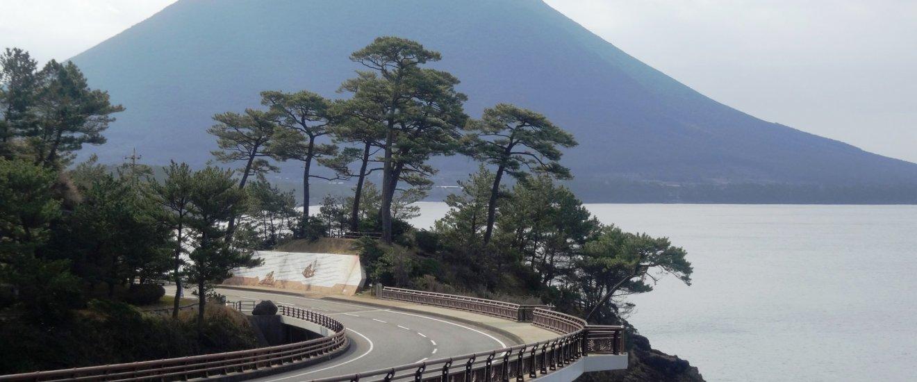 Le Mont Kaimon surplombant le sud de la Péninsule de Satsuma
