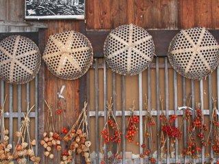 현지 주민들이 말리기 위해 매달아 놓은 농작물들