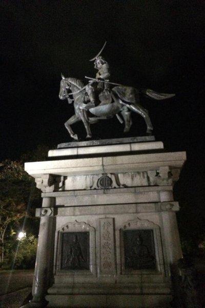 Statue de Date Masamune, fondateur de la ville de Sendai, au château Aoba