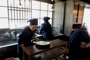 A very old-fashioned kitchen at Akafuku Sweets store