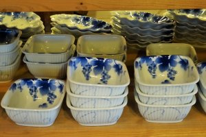 A collection of bowls on display