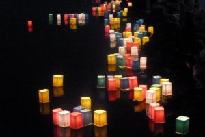 Lanterns floating on the lake