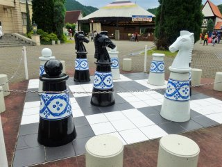 A giant porcelain chess set in the park