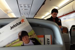 The modern clean lines of Jetstar's cabin.