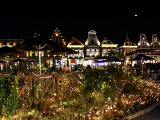 Brilliant lights illuminated Huis Ten Bosch at night