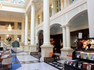 Inside the hotel lobby