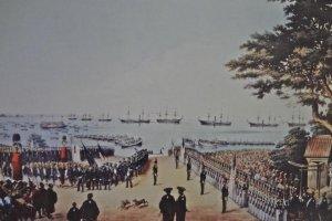 ハイネの『横浜上陸』 画面右側が時代の証人『玉楠の木』