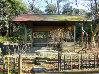 A rest house at the top of the garden