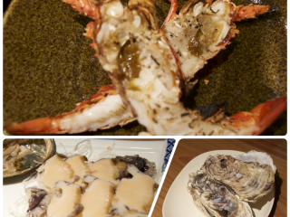 A simple meal of spiny lobster, abalone and oysters at Suzuki Fisheries on Gekuu Street.