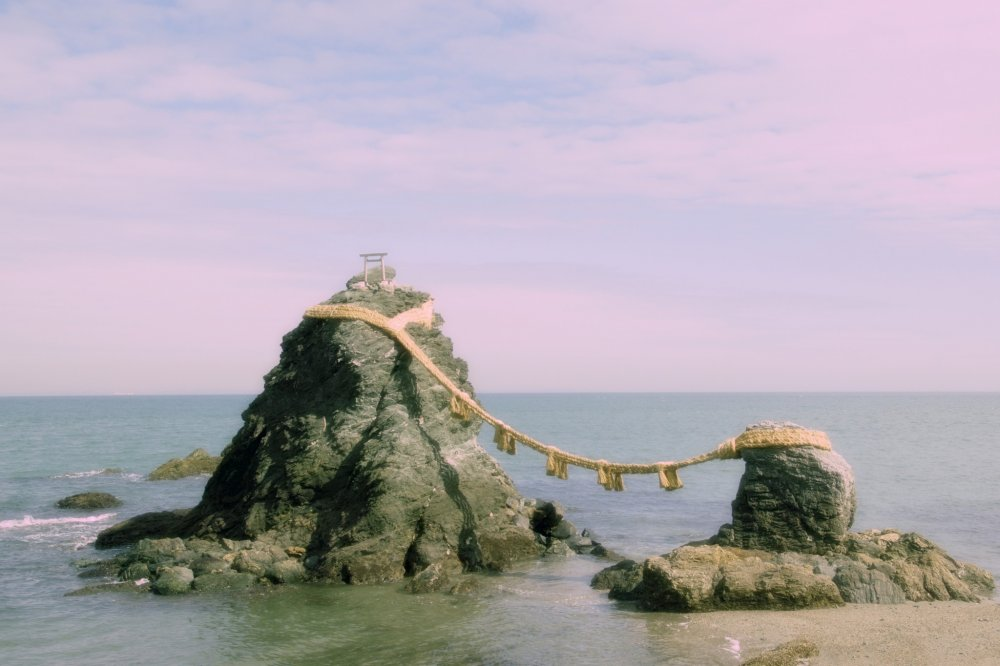 "Meoto Iwa, also known as the ""Married Couple Rocks"""