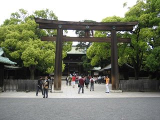 The shrine entrance itself is marked by another impressive torii.