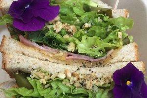 Edible flowers on a sandwich from Garten.