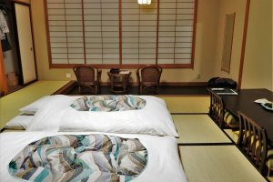 The same room with futons laid out at night
