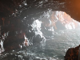 Passage from inside the cave out to the sea