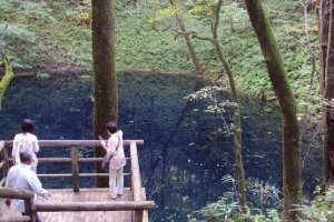 Vue sur Ao-ike, l'« étang Bleu», depuis la plate-forme d'observation