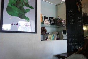 artwork and books at Morio cafe in Takasaki, Gunma