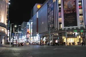 Ginza Crossing At Night, Mitsukoshi Dept. Store At Right