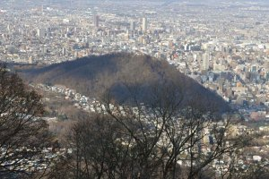 A smaller mountain near the city center called Maruyama is visible from the viewpoint.