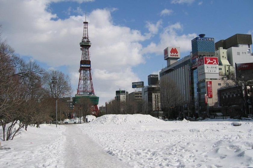 A late-winter shot shows the park covered in snow.