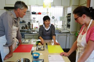 Okinawa Cooking Class in a home kitchen