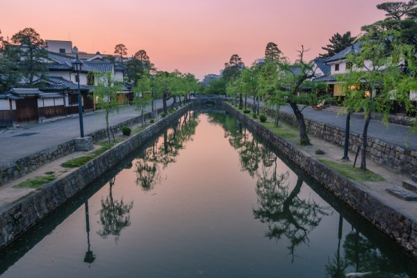 Looking down the canal of the Kurashiki Bikan Historical Quarter