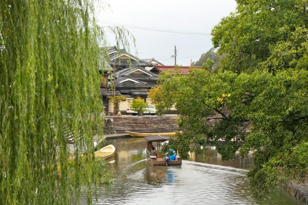 Cruise through weeping willows with the historic village in the background