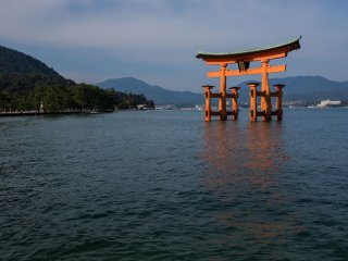 The floating Tori gate of the Itsukushima Shrine which is recognized as a UNESCO World Heritage site