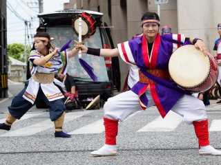 Gathering of Eisa members during summer in Naha, Okinawa