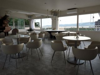 The cafe is spacious and well designed.