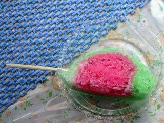 This watermelon shaved ice treat is an original of Nakakori-ten