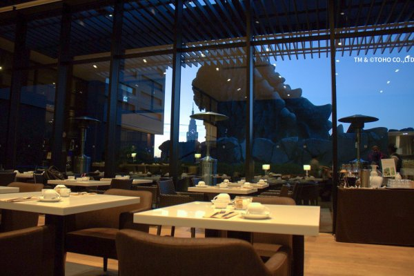 Breakfast with a view—Godzilla will keep you company