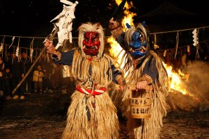 The Namahage making their way through the crowds
