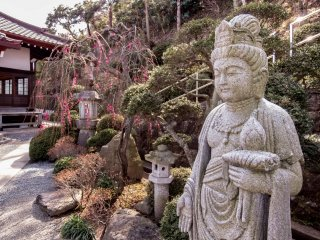 Within Joenji's garden lies this special type of statue which is found in many other Nichiren Sect Temples