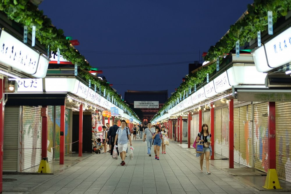 Most shops in the shopping street (Nakamise) are closed at night