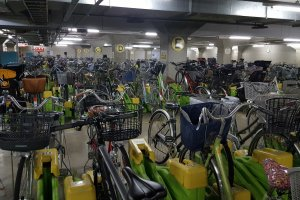 An underground bike parking garage.